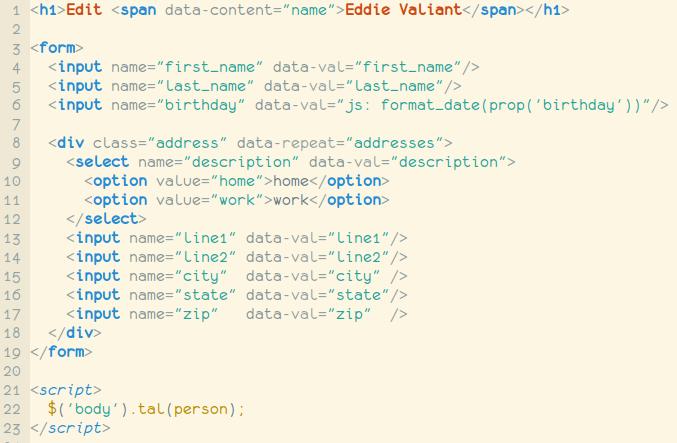 jQuery Template Attribute Language - MPOV