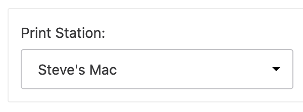 "Print Station option with ""Steve's Mac"" selected"